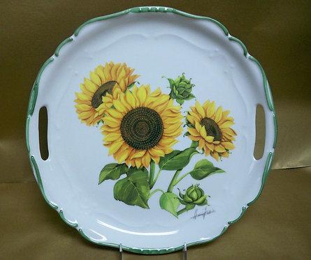 "14.5"" Girasole Venere Round Shallow Platter With Handles"