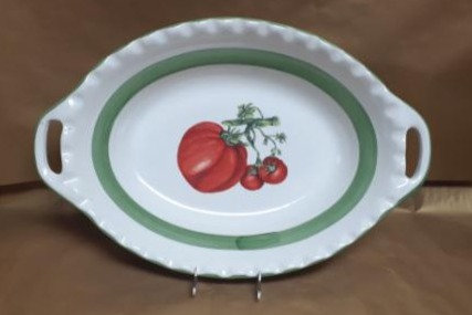 "23"" Tomato Deep Oval Bowl With Handles"