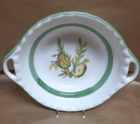 "19.5"" Artichoke Deep Round Bowl With Handles"