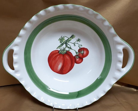 "16.5"" Tomato Deep Round Bowl With Handles"