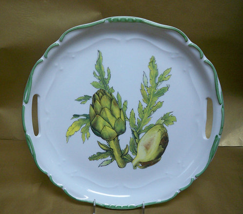 "14.5"" Artichoke Venere Round Shalllow Platter With Handles"