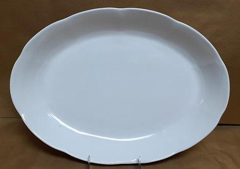 "18"" White Shallow Oval Platter"