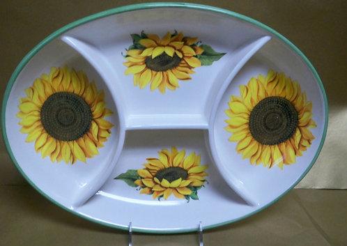 "18"" Girasole Antipastiera Oval Shallow Sectional Platter"