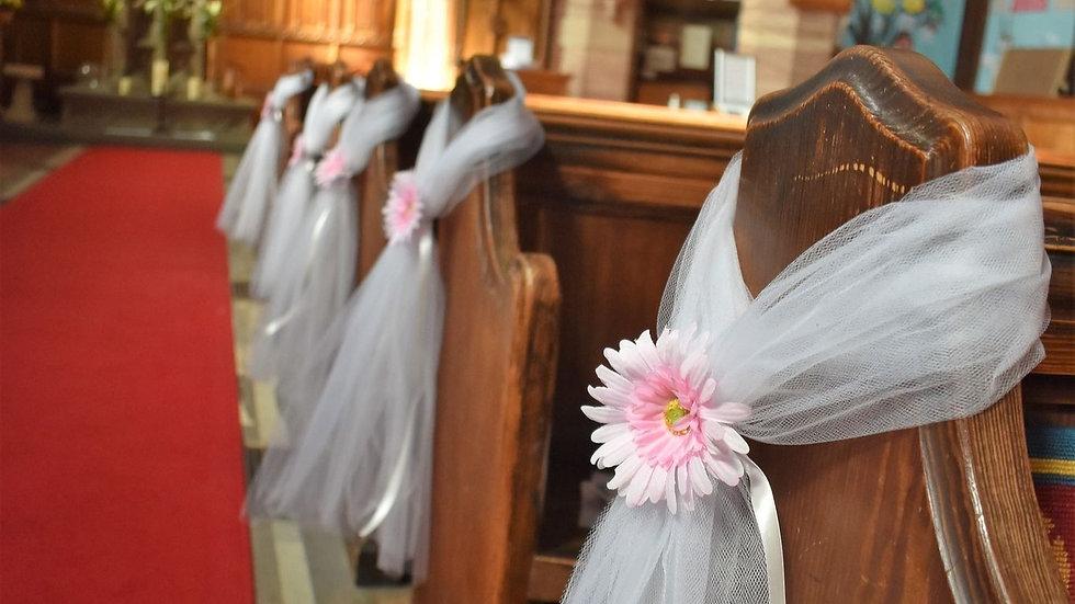 Gerbera daisyPew ends | wedding decoration| Church Flowers