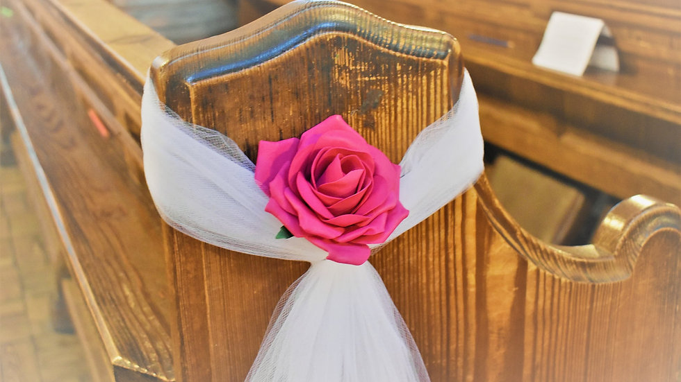 Church Pew Ends, Voile and Roses dressing ~ Fuchsia Pink