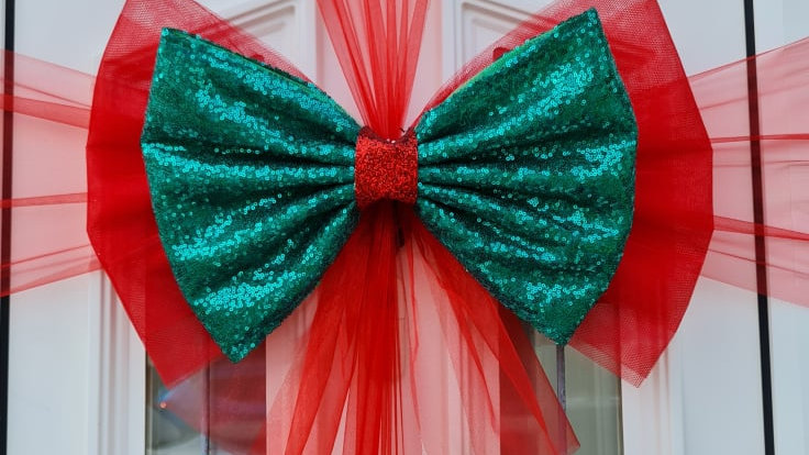 Christmas Door bow| door bow for christmas | door bow