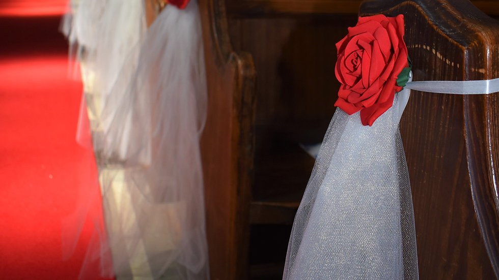 Red rose Pew ends | WeddingFlower Decoration | Church Flowers
