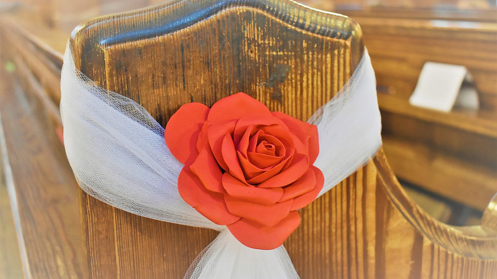 Red rose Pew ends | Wedding Flower Decoration | Church Flowers
