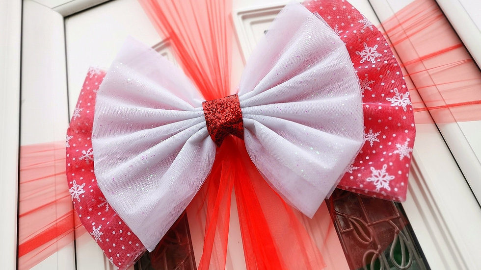 Snowflake Red White Berry Christmas Door Bow