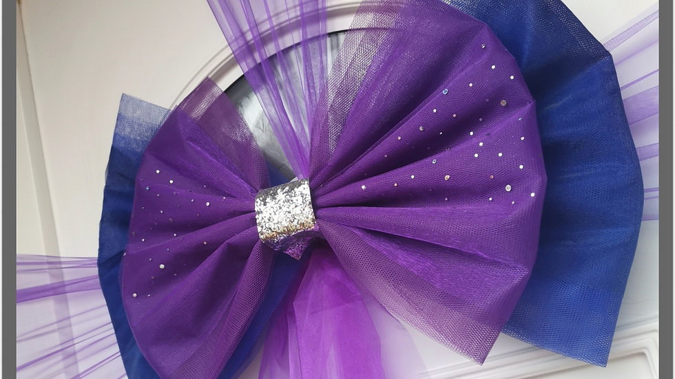 Purple and Royal Blue   Door Bow ..Dress your door ..Double Deluxe