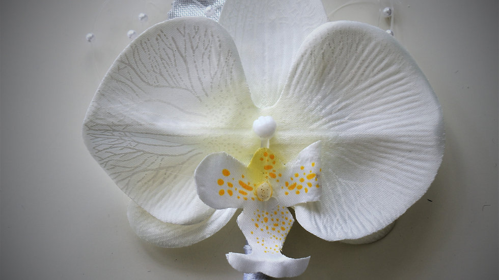 White Orchid Wedding Flower  Buttonhole
