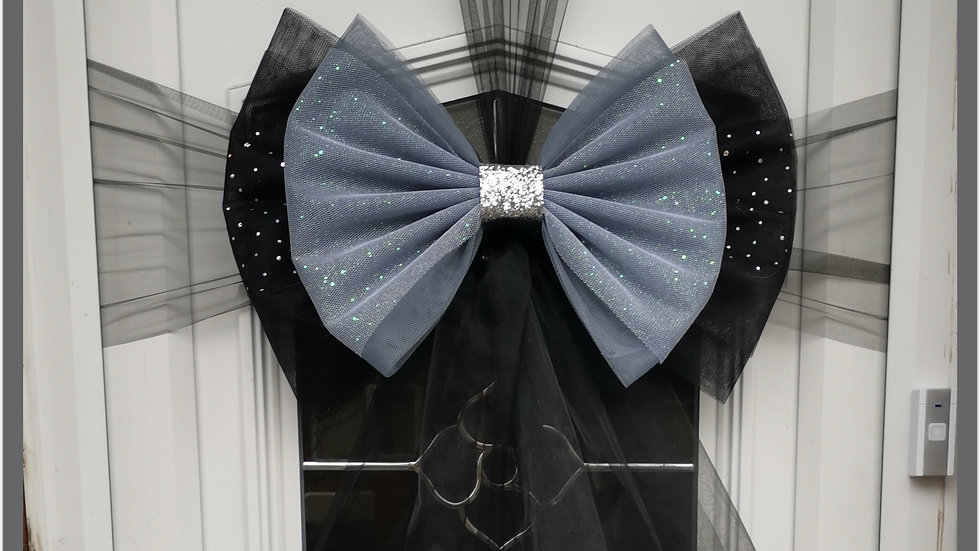 Black and Grey silver   Door Bow ..Dress your door ..Double Deluxe