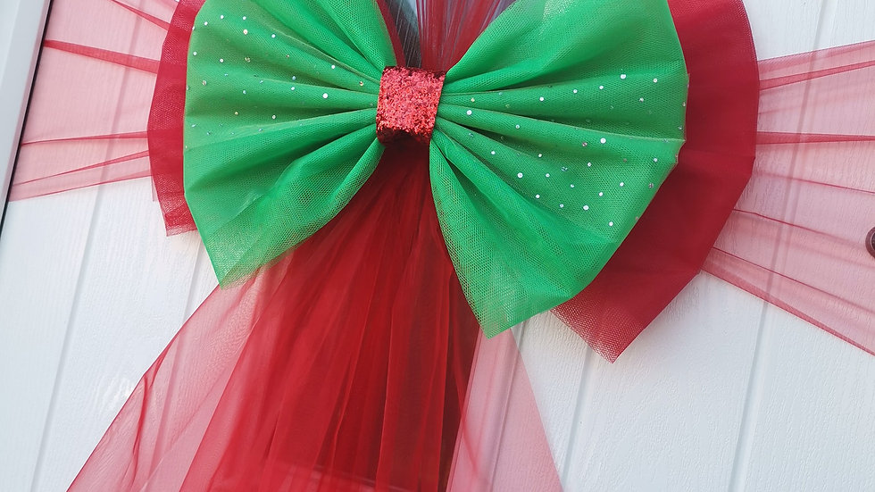 Red and GreenChristmas Door bow | door bow kit | door bow