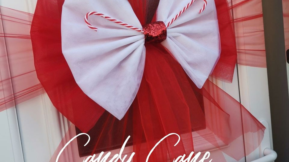 candy cane christmas door bow | door bow kit |  Christmas door bow