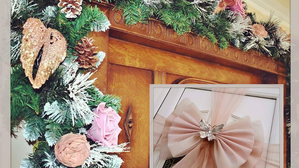 Rose Gold Christmas   Christmas garland on stairs   Christmas garland for the fireplace