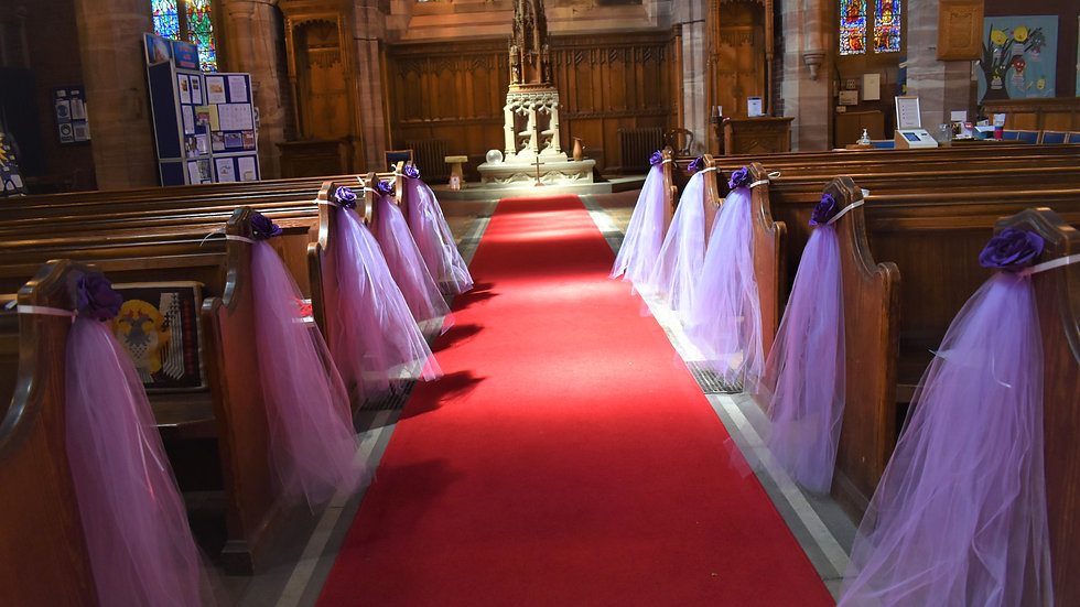Church Pew Ends, Voile and Roses dressing ~ Purple