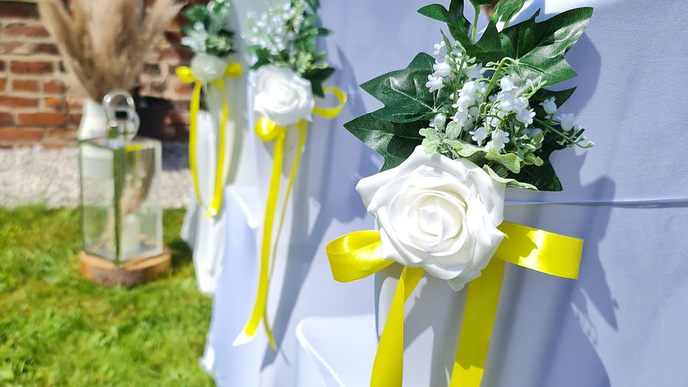 Ivory Wedding decorations  chair aisle decorations wedding   Wedding chair Flowers