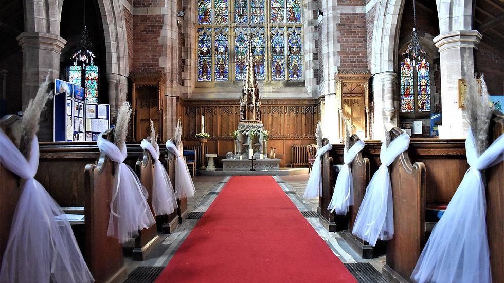 Pampas Pew ends | wedding decoration| Church Flowers