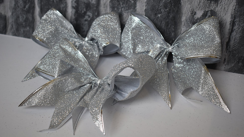 Silver Christmas Tree Clip on Bows set of 6