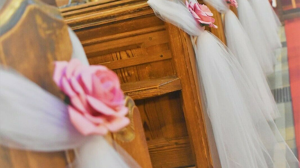 Dusky Pink Wedding decorations   Church decoration for a wedding   Aisle decor for church wedding