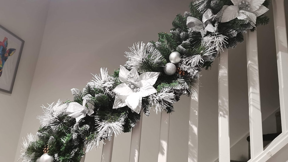 Christmas  Garland  ..Fireplace or Staircase & Door Bow set