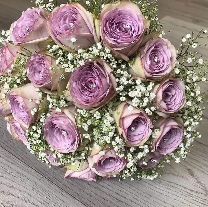 Fresh Lilac Rose Wedding Bouquet