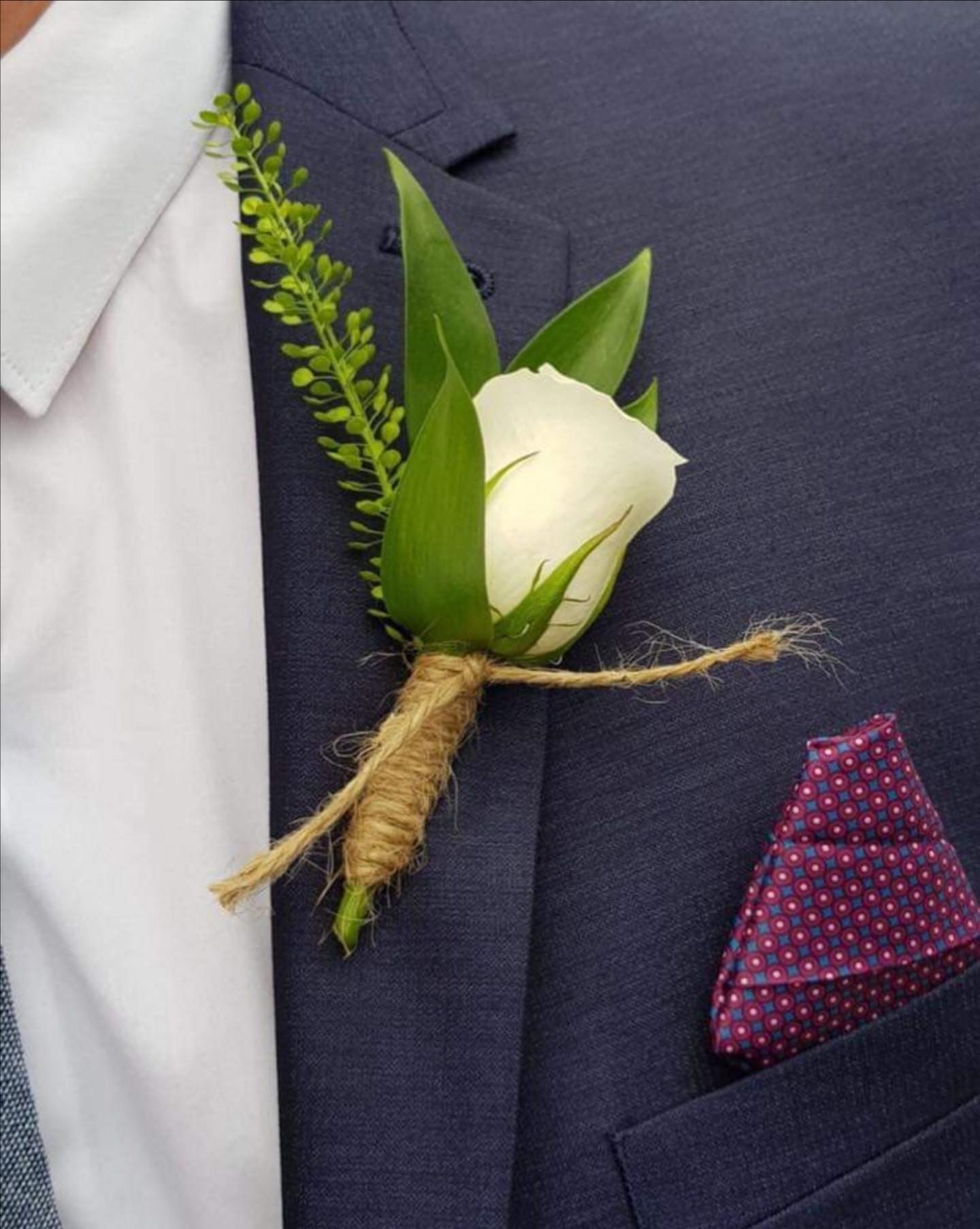 Fresh White Rose Wedding Buttonhole