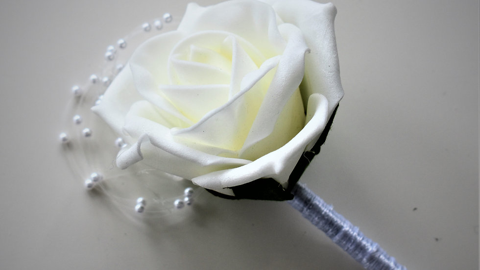 Pearl Buttonhole   Wedding bouquets artificial   Wedding Flowers