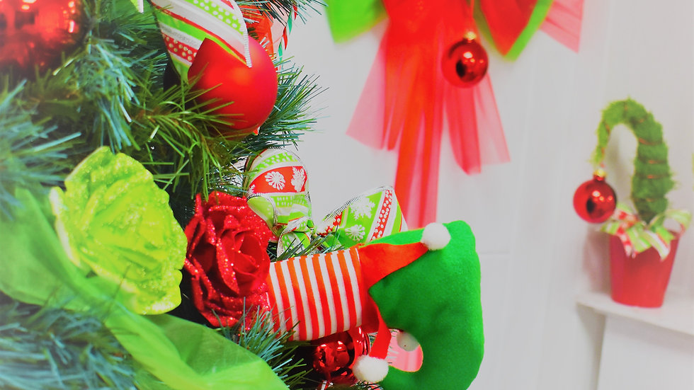 Grinch inspired Mini Tree Bows set of 6