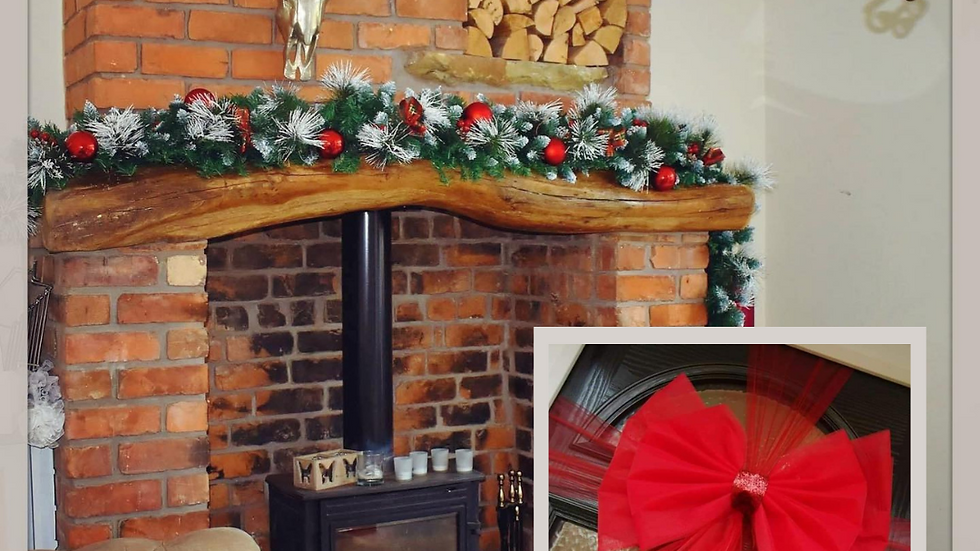 Red Christmas | Christmas garland on stairs | Christmas garland for the fireplace