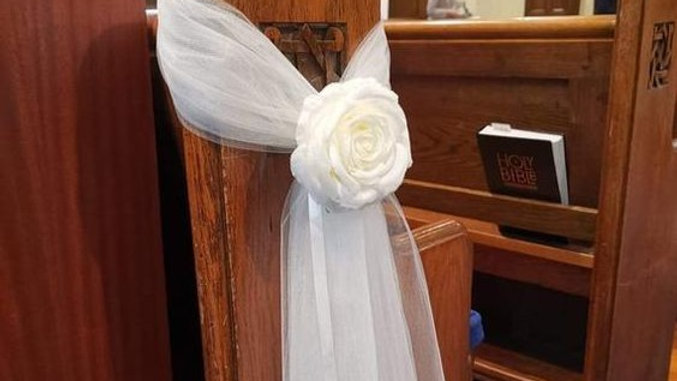 Ivory Wedding decorations   Pew Ends -Chair aisle flowers Church Decor