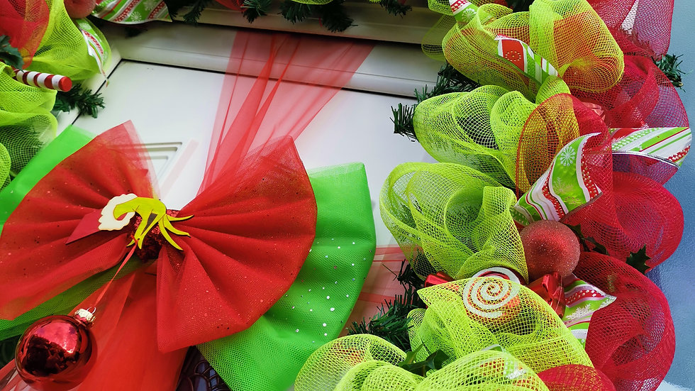 Grinch /Elf inspired Christmas Door Garland ..Outdoors Door Bow set