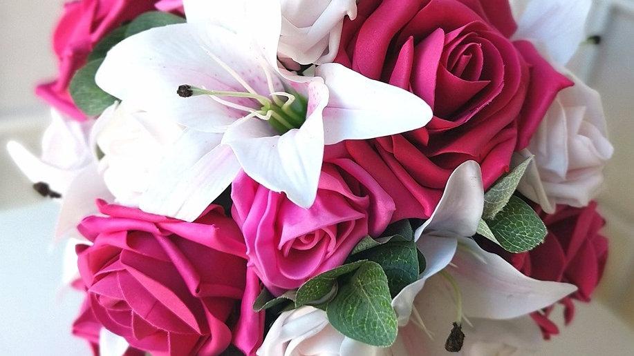 Pink Wedding Flowers   Fake Bouquet of flowers   Wedding Flowers