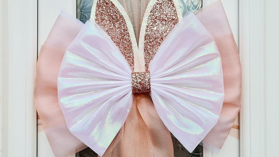 Easter Bunny Door Bow ..Dress your door ..Rose Gold , Blue , Lilac, Pink