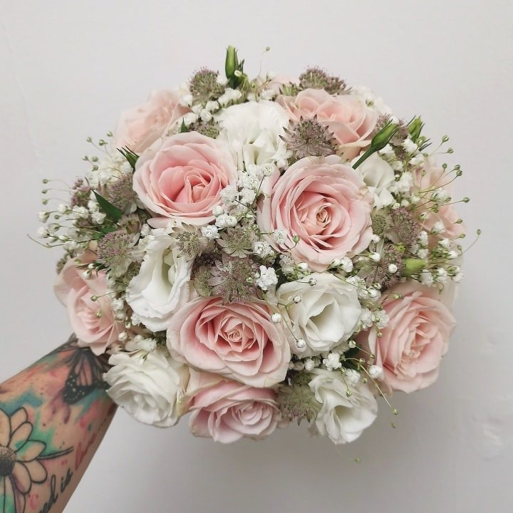 Pale Pink Rose and Gypsophila Wedding Bouquet
