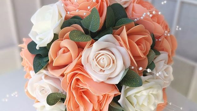 Coral Wedding Flowers | Fake Bouquet of flowers | Wedding Flowers