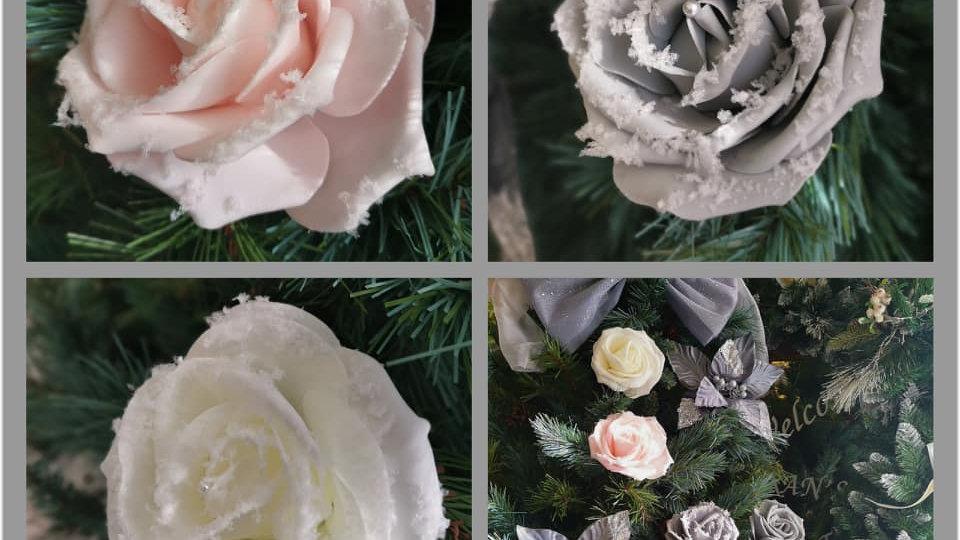 Luxury Christmas Tree Flowers Roses glitter snow set of 6