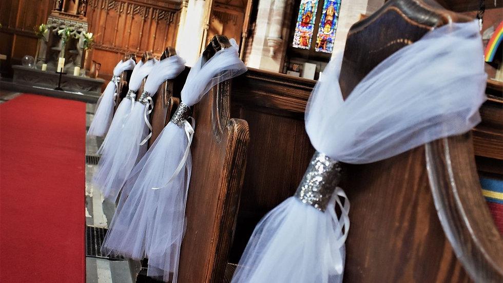 SilverPew ends | wedding decoration| Church Flowers