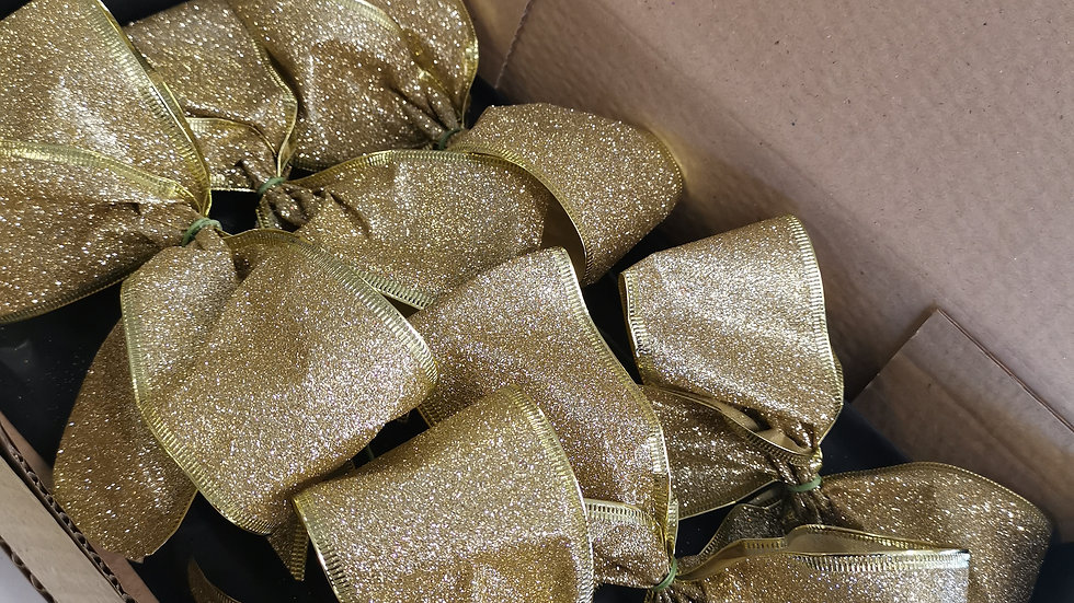 Glitter Gold  Christmas Tree Clip on Bows set of 6