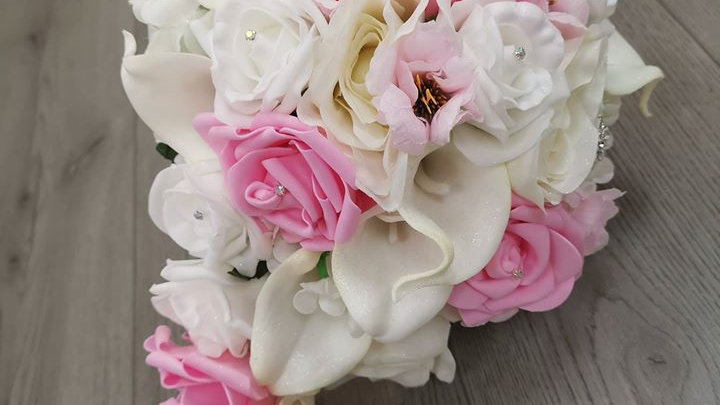 Baby pink and Ivory Wedding Flowers | Fake Bouquet of flowers | Wedding Flowers