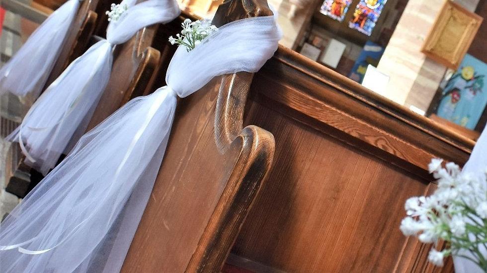 GypsophilaPew ends | wedding decoration| Church Flowers