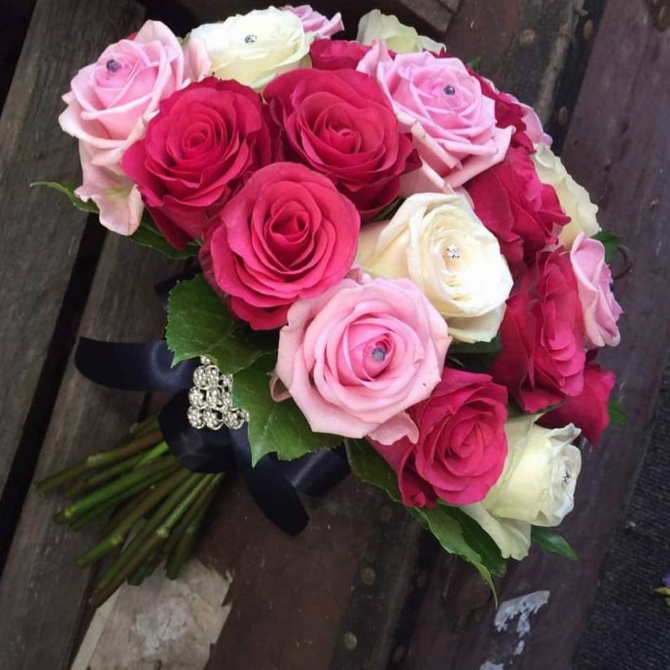 Pink Fresh Flower Wedding Bouquet