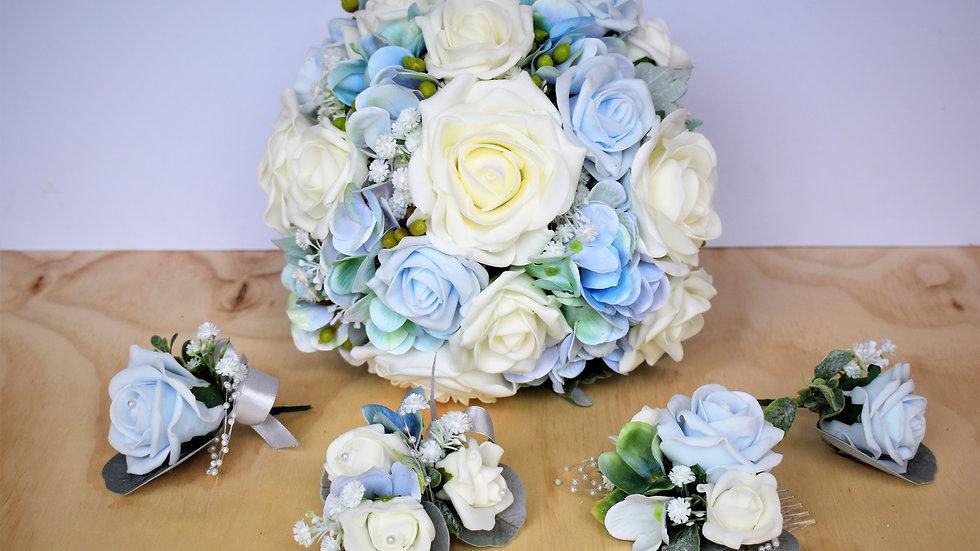 Blue Wedding Flowers   Fake Bouquet of flowers   Wedding Flowers