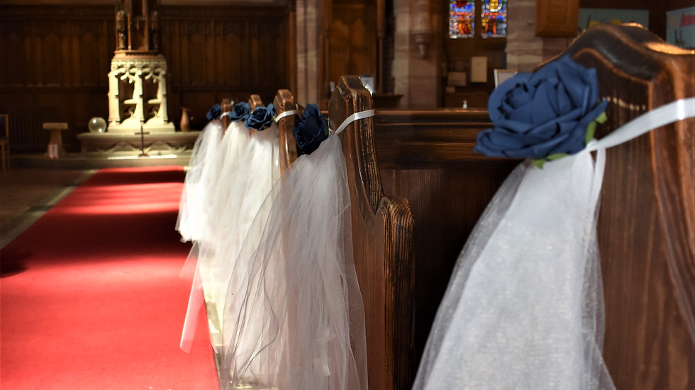 Navy Wedding decorations | Church decoration for a wedding | Aisle decor for church wedding