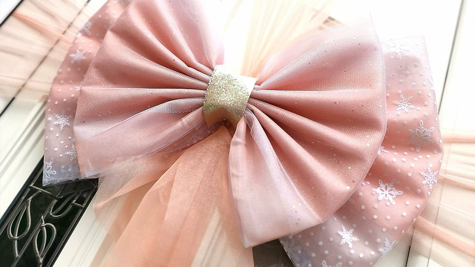 Snowflake Blush Door bow | Christmas door bow | door bow