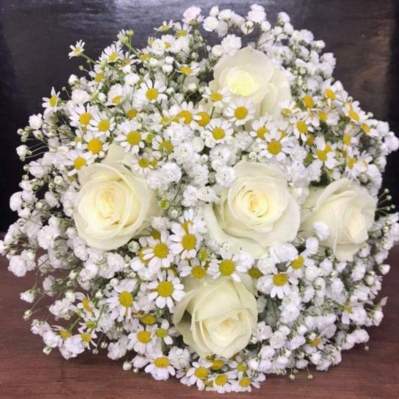 White Rose and Gypsophila Wedding Bouquet