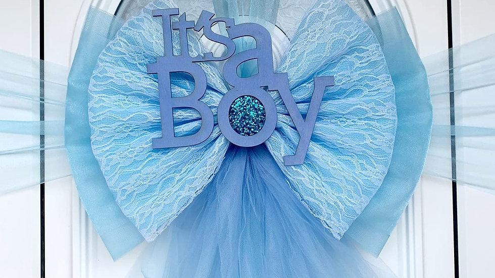 Baby Blue Door Bow ..Dress your door .. Front Door Bow