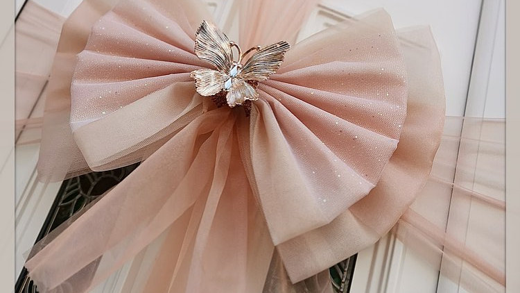 Blush Butterfly Luxury Rose Gold Christmas  Door Bow