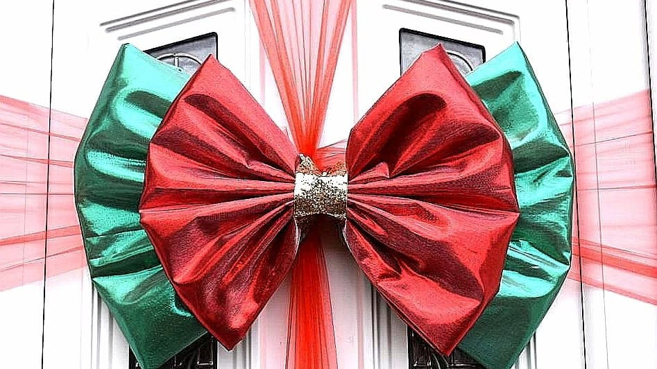 Glitzy Red Gold and GreenDoor bow | Christmasdoor bow| door bow