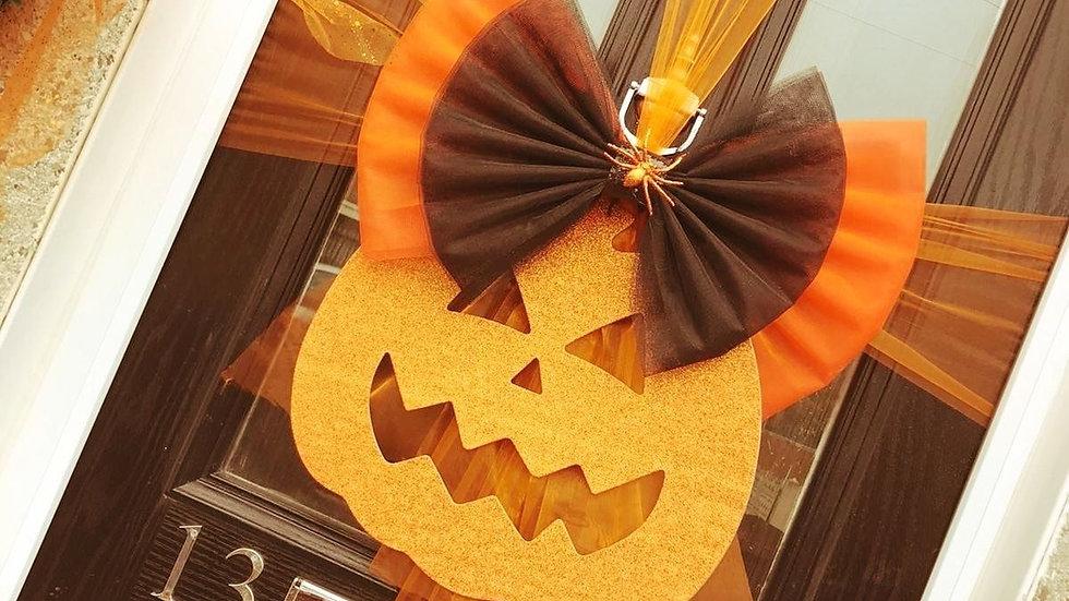 Halloween Door Bow .. Pumpkin or Skull